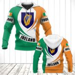 Customize Ireland Coat Of Arms Flag - New Form All Over Print Hoodies