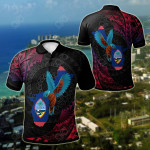 Guam KingFisher Bird With Map All Over Print Polo Shirt