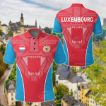 Luxembourg Strong Lion All Over Print Polo Shirt