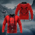 Viking Skull Red All Over Print Hoodies