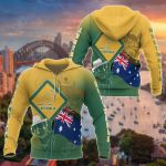 Australia Flag - Coat Of Arms Kangaroo And Koala Sign All Over Print Shirts