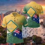 Australia Flag - Coat Of Arms Kangaroo And Koala Sign All Over Print Polo Shirt