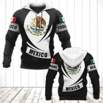 Customize Mexico Coat Of Arms Flag - Black Form All Over Print Hoodies