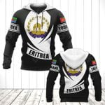 Customize Eritrea Coat Of Arms Flag - Black Form All Over Print Hoodies