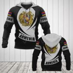 Customize Armenia Coat Of Arms Flag - Black Form All Over Print Hoodies