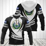Customize El Salvador Coat Of Arms Flag - Black Form All Over Print Hoodies