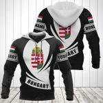 Customize Hungary Coat Of Arms Flag - Black Form All Over Print Hoodies