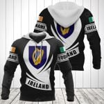 Customize Ireland Coat Of Arms Flag - Black Form All Over Print Hoodies