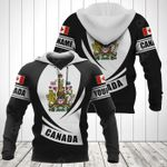 Customize Canada Coat Of Arms Flag - Black Form All Over Print Hoodies