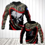 French Army Camo New Skull All Over Print Hoodies