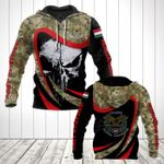 Hungarian Army Camo New Skull All Over Print Hoodies