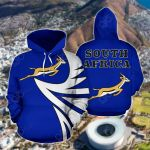 South Africa Springbok - Warrior Style Blue All Over Print Hoodies