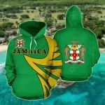 Jamaica Coat Of Arms - Warrior Style All Over Print Hoodies