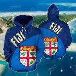 Fiji Wave Flag Color All Over Print Hoodies