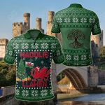 Wales's Christmas Dragon All Over Print Polo Shirt