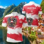 Austria Flag Brush All Over Print Polo Shirt