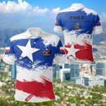 Chile Flag Brush All Over Print Polo Shirt