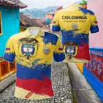 Colombia Flag Brush All Over Print Polo Shirt
