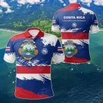 Costa Rica Flag Brush All Over Print Polo Shirt