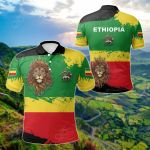 Ethiopia Flag Brush All Over Print Polo Shirt