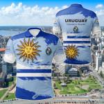 Uruguay Flag Brush All Over Print Polo Shirt