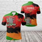 Zambia Flag Brush All Over Print Polo Shirt
