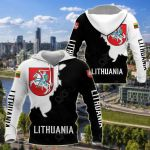 Lithuania Coat Of Arms Black - White Style All Over Print Shirts