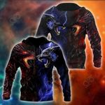 Red And Blue Dragon And Wolf All Over Print Shirts