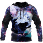 Black and White Wolf Galaxy All Over Print Shirts
