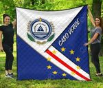 Cabo Verde Flag And Coat Of Arms Premium Quilt