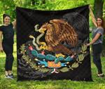 Mexico Coat Of Arms - Black Premium Quilt