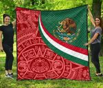 Mexico Coat Of Arms With Aztec Patterns Premium Quilt