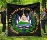 El Salvador Coat Of Arms - Black Premium Quilt