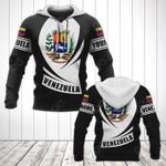 Customize Venezuela Coat Of Arms Flag - Black Form All Over Print Hoodies