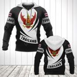 Customize Thailand Coat Of Arms Flag - Black Form All Over Print Hoodies