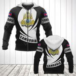 Customize Cambodia Coat Of Arms Flag - Black Form All Over Print Hoodies