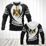 Customize Palestine Coat Of Arms Flag - Black Form All Over Print Hoodies