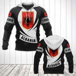 Customize Albania Coat Of Arms Flag - Black Form All Over Print Hoodies