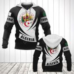 Customize Algeria Coat Of Arms Flag - Black Form All Over Print Hoodies