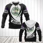 Customize Belize Coat Of Arms Flag - Black Form All Over Print Hoodies