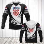 Customize Croatia Coat Of Arms Flag - Black Form All Over Print Hoodies