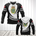 Customize Denmark Coat Of Arms Flag - Black Form All Over Print Hoodies