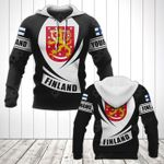 Customize Finland Coat Of Arms Flag - Black Form All Over Print Hoodies