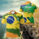 Brazil Flag Brush All Over Print Polo Shirt