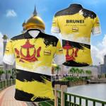 Brunei Flag Brush All Over Print Polo Shirt
