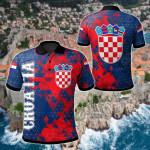 Croatia National Flag Polygon Style All Over Print Polo Shirt