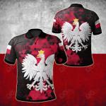 Poland - Polish Flag Polygon Style All Over Print Polo Shirt