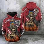 Latvia Fire Reaper Flag All Over Print Hoodie