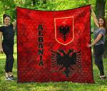 Albania Flag Polygon Style Premium Quilt