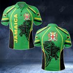Jamaica Coat Of Arms - Black Lion All Over Print Polo Shirt